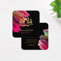 Yoga Instructor Lotus Flower Gold Art Holistic Square Business Card