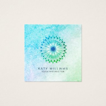 Beach Themed Yoga Instructor Lotus Flower Watercolor Blue Beach Square Business Card
