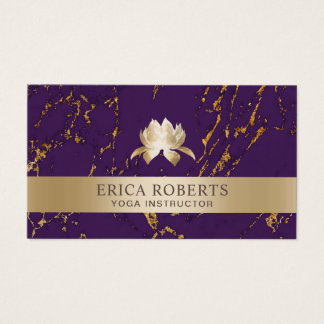 Yoga Instructor Lotus Logo Modern Purple & Gold Business Card