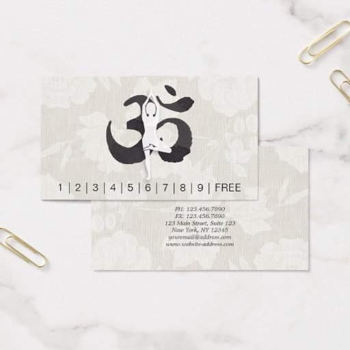 YOGA Instructor Loyalty Punch Yoga Pose Om Symbol Business Card