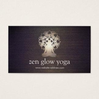 Yoga Instructor Meditation Pose Lotus Mandala Wood Business Card