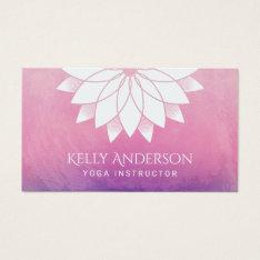 Yoga Instructor Modern Lotus Floral Mandala Business Card at Zazzle