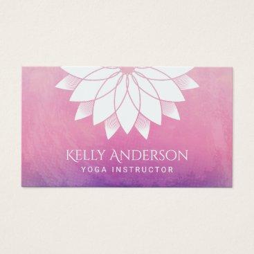 cardfactory Yoga Instructor Modern Lotus Floral Mandala Business Card