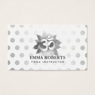 Yoga Instructor Modern Om Symbol Silver Lotus Dots Business Card