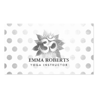 Yoga Instructor Modern Om Symbol Silver Lotus Dots Double-Sided Standard Business Cards (Pack Of 100)