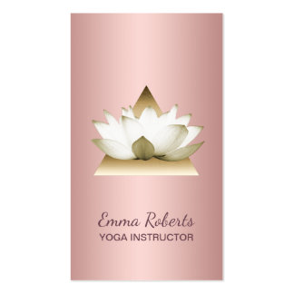 Yoga Instructor Modern Rose Gold Lotus Triangle Business Card