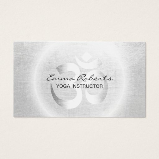 Yoga Instructor Modern Silver Om Sign Business Card