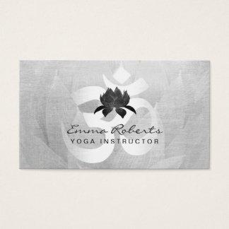 Yoga Instructor Modern Silver Om Sign Lotus Floral Business Card