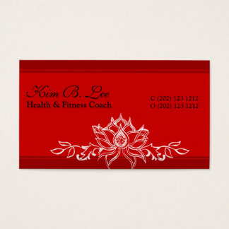 Yoga Instructor Red Asian Sacred Lotus Drawing Business Card