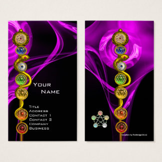 YOGA INSTRUCTOR ROD OF ASCLEPIUS,7 CHAKRAS, Pink Business Card