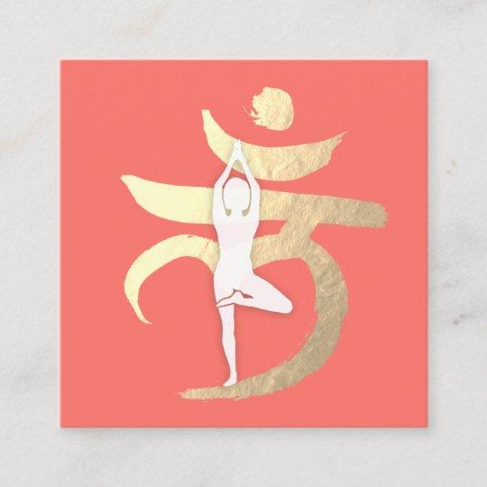 Yoga Instructor Root Chakra Symbol Meditation Pose Square Business Card