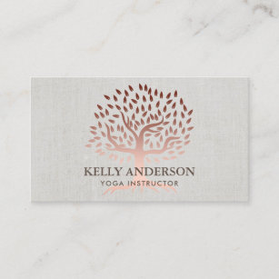 Tree business cards zazzle yoga instructor rose gold tree elegant linen business card colourmoves