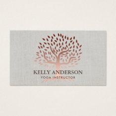 Yoga Instructor Rose Gold Tree Elegant Linen Business Card at Zazzle