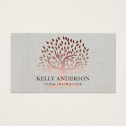 Yoga instructor business cards templates zazzle yoga instructor rose gold tree elegant linen business card reheart Image collections