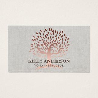 Yoga Instructor Rose Gold Tree Elegant Linen Business Card