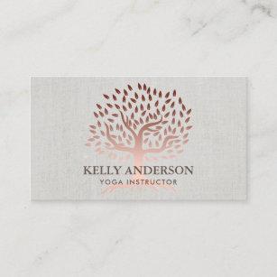 Yoga business cards zazzle yoga instructor rose gold tree elegant linen business card colourmoves