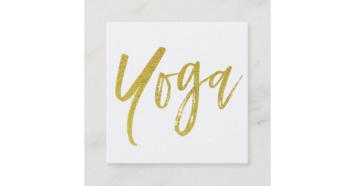Yoga Instructor Teacher White Gold Modern Square Business Card ...