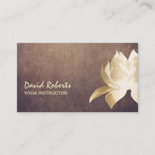 Lotus business cards zazzle yoga instructor vintage gold lotus flower business card colourmoves