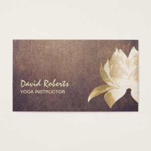 Yoga and fitness business cards templates zazzle yoga instructor vintage gold lotus flower business card colourmoves