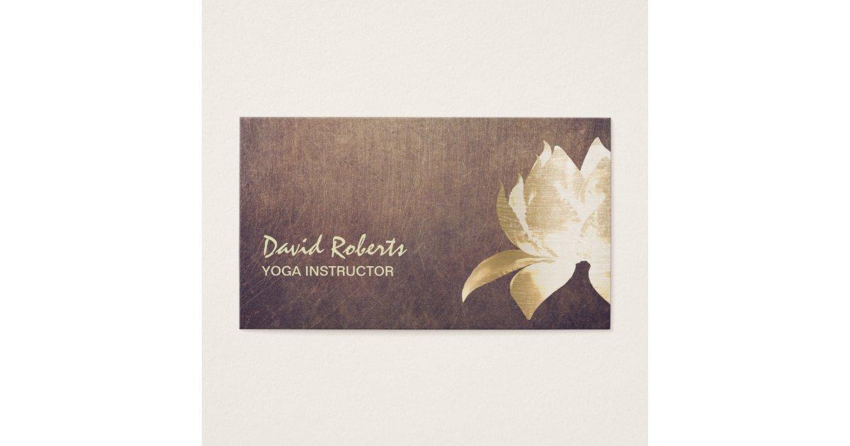 Yoga Instructor Vintage Gold Lotus Flower Business Card | Zazzle.com
