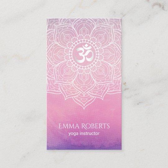 Yoga instructor watercolor lotus mandala namaste business card yoga instructor watercolor lotus mandala namaste business card reheart Images