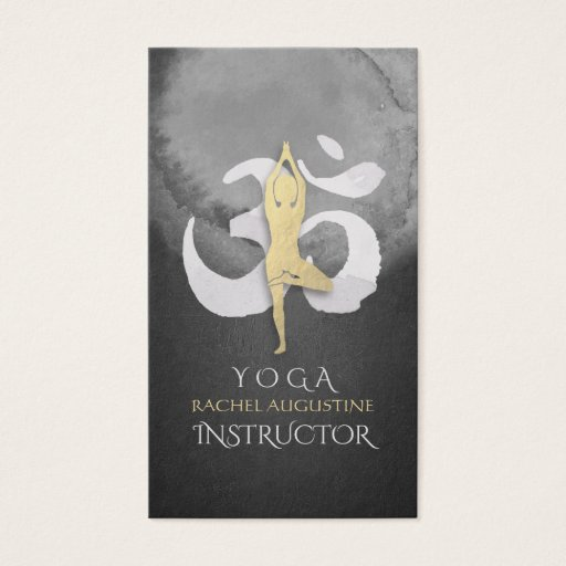 Yoga Instructor Watercolor Meditation Pose OM Sign Business Card