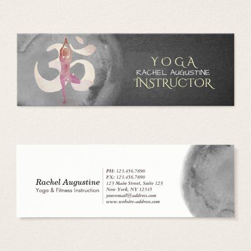 Yoga Instructor Watercolor Meditation Pose OM Sign Mini Business Card
