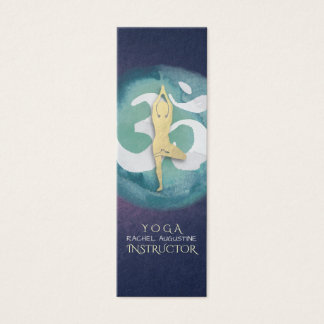 Yoga Instructor Watercolor Meditation Pose OM Sign Mini Business Card