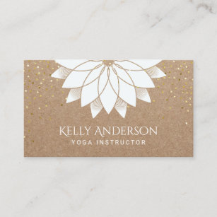 Yoga instructor business cards templates zazzle yoga instructor white lotus floral rustic kraft business card colourmoves