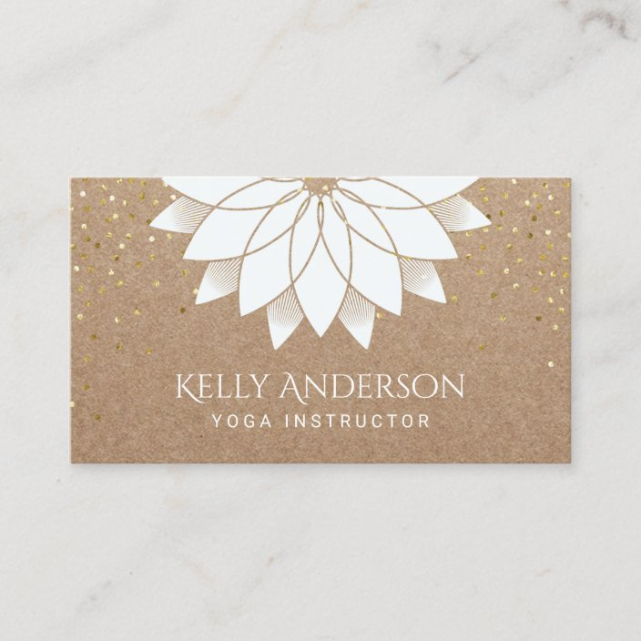 Yoga Instructor White Lotus Floral Rustic Kraft Business Card