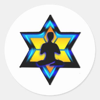 Yoga judía pegatina redonda