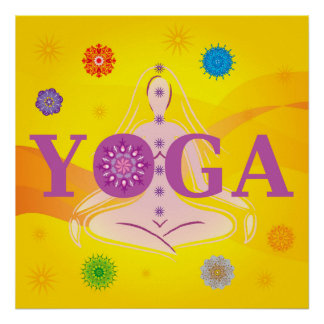 Yoga Letters - Woman Pose - 7 Chakras Multicolored Poster