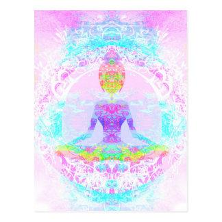 Yoga lotus pose. Postcard