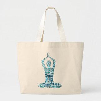 Yoga Lotus Pose Word Cloud Zen Large Tote Bag