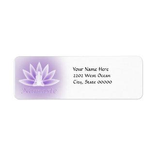 Yoga Lotus Woman Flower Violet Return Address Label