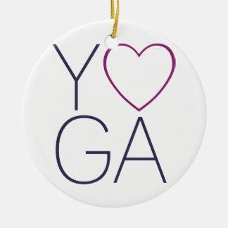 yoga love ceramic ornament