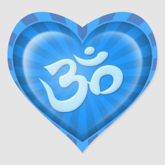 Yoga Love Heart Om Blue Rays Heart Sticker