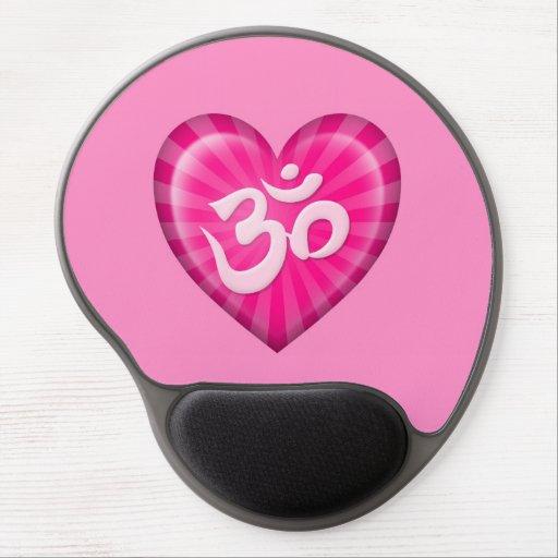 Yoga Love Heart Om Pink Gel Mouse Pad