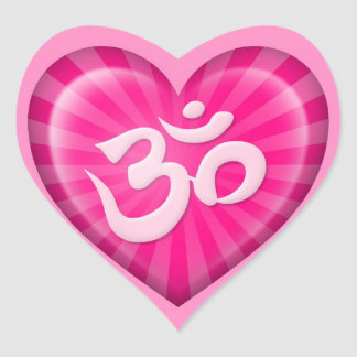 Yoga Love Heart Om Pink Heart Sticker