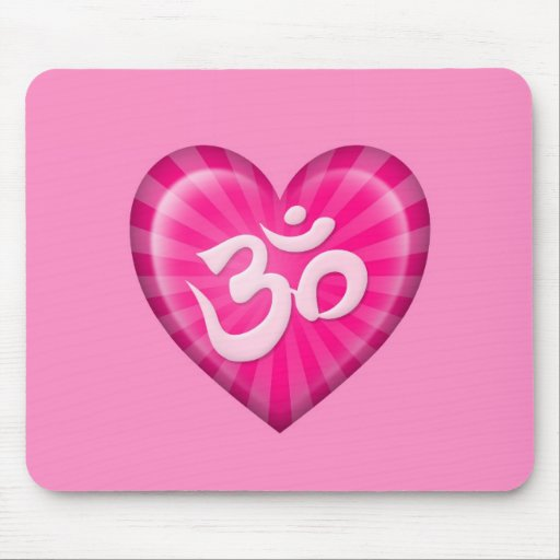 Yoga Love Heart Om Pink Mouse Pads