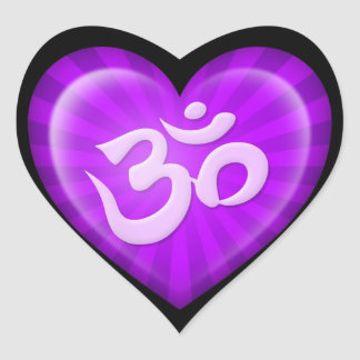 Yoga Love Heart Om Purple on Black Heart Sticker