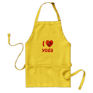 Yoga Love Heart Om Red and Black Adult Apron