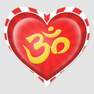 Yoga Love Heart Om Red Yellow & White Rays Heart Sticker