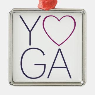yoga love metal ornament