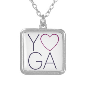 yoga love silver plated necklace