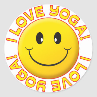 Yoga Love Smile Classic Round Sticker