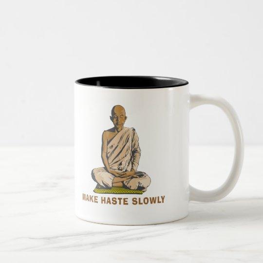 Yoga Make Haste Slowly Two-Tone Coffee Mug