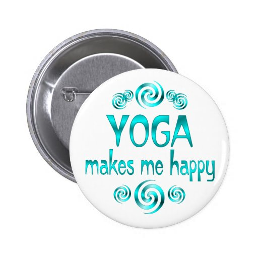 Yoga Makes Me Happy 2 Inch Round Button