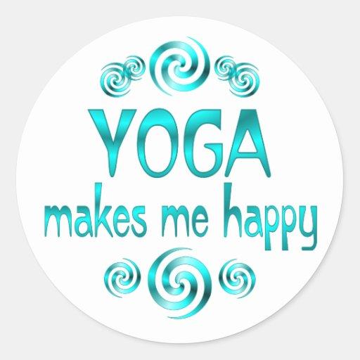 Yoga Makes Me Happy Round Stickers