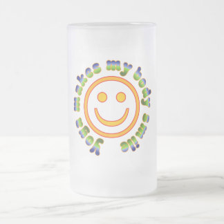 Yoga Makes My Body Smile Health Fitness New Age Frosted Glass Beer Mug